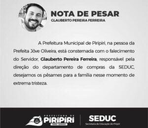 Nota de Pesar da Prefeitura Municipal de Piripiri